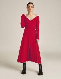 sukienka wiskozowa z ozdobnym marszczeniem