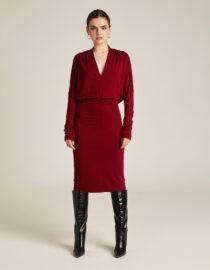 sukienka wiskozowa z marszczonymi rękawami