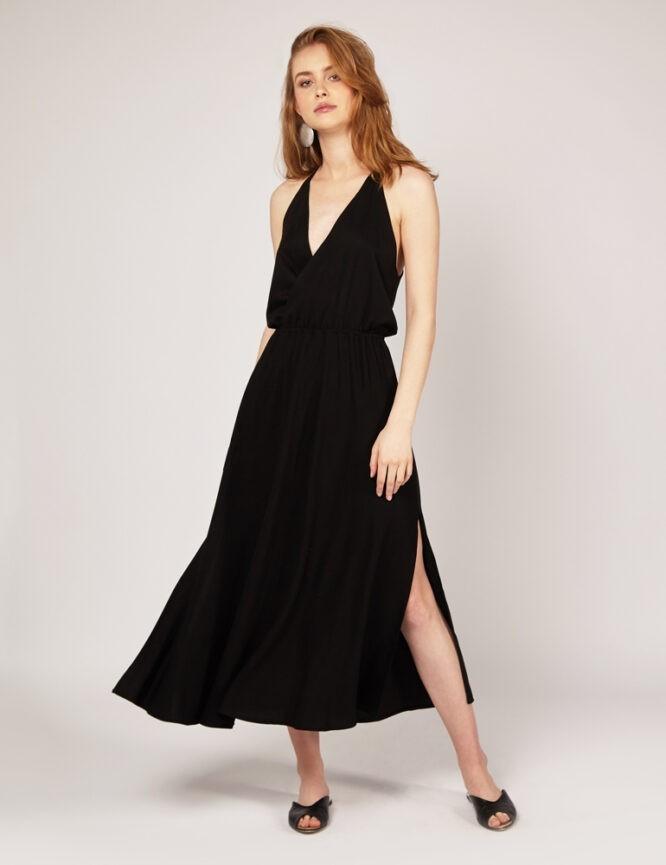 sukienka wiskozowa na cienkich ramiączkach