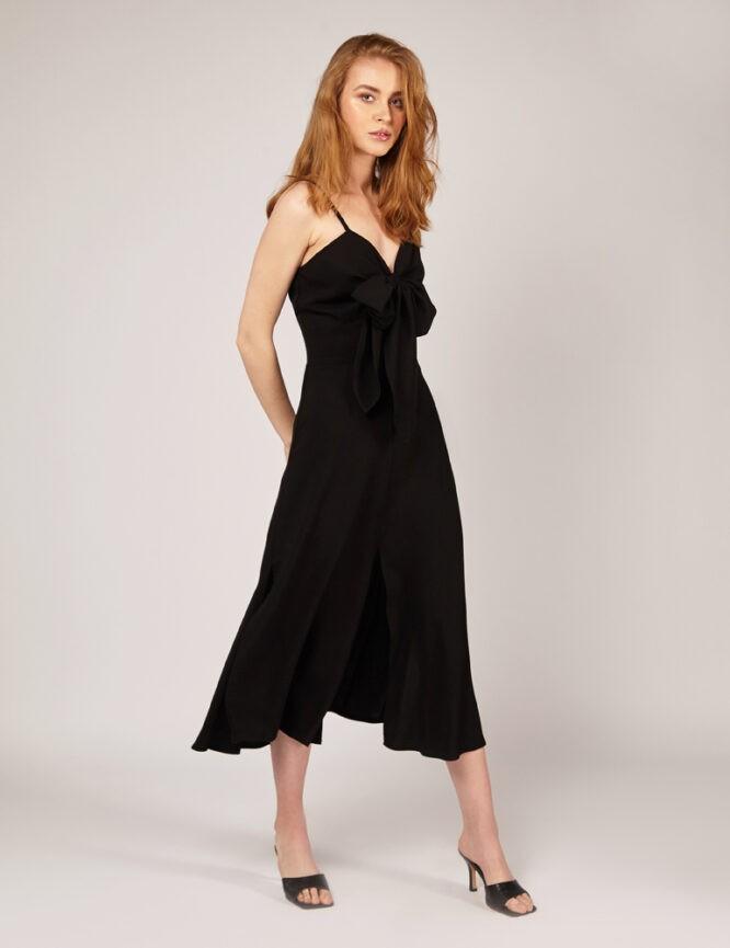 sukienka wiskozowa z ozdobnym wiązaniem